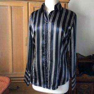 ZARA STRIPED SILKY BUTTON UP BLOUSE